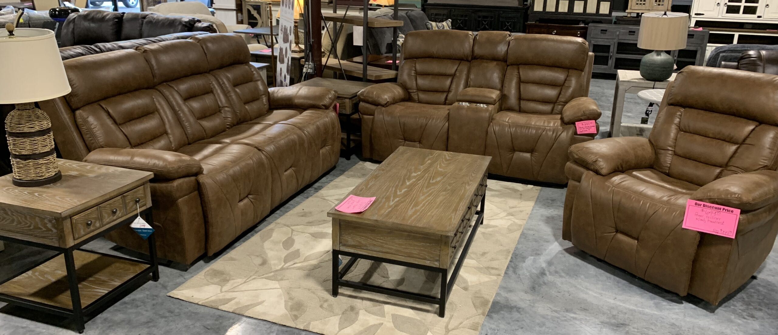 a power reclining 3 pc brown living room set by Steve Silver